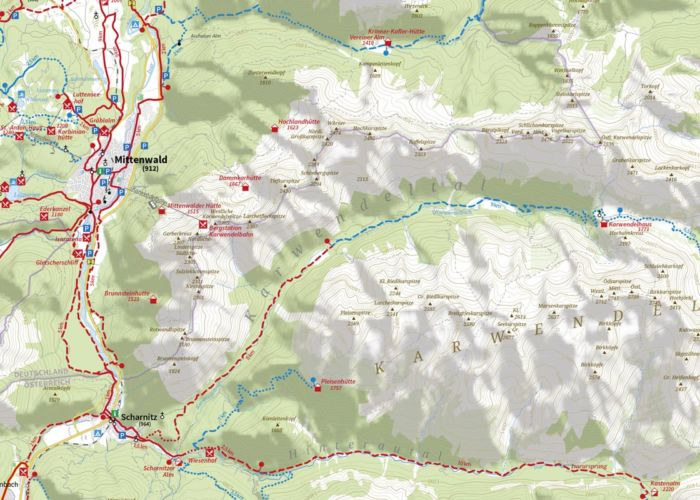 Ausschnitt Radkarte Alpenwelt Karwendel, Maßstab 1:55.000
