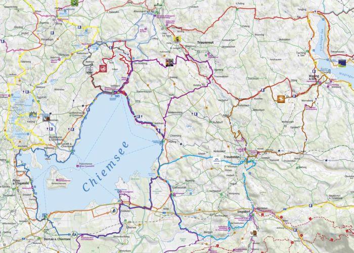Ausschnitt Radkarte Chiemgau, Maßstab 1:75.000