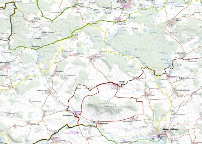 Ausschnitt Radkarte Region Hesselberg, Maßstab 1:50.000