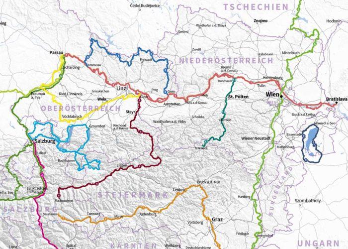 Ausschnitt Karte Fernradwege Österreich
