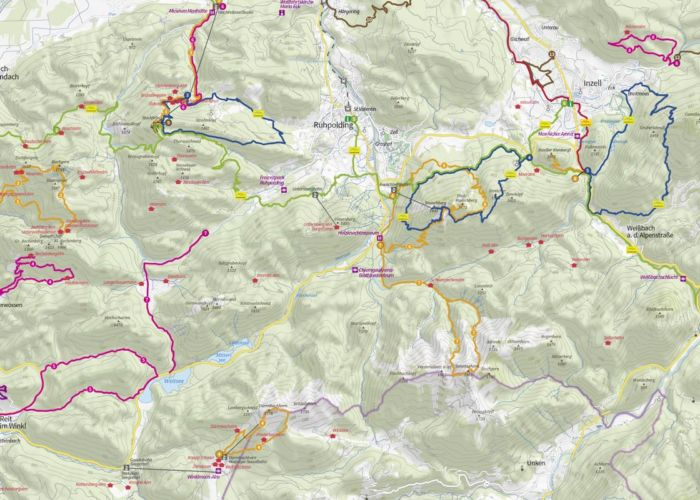 Ausschnitt Wanderkarte Chiemgau, Maßstab 1:75.000