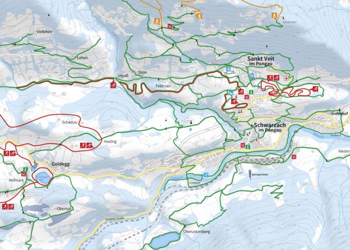 Winterkarte Salzburger Sonnenterrasse, Maßstab 1:22.000