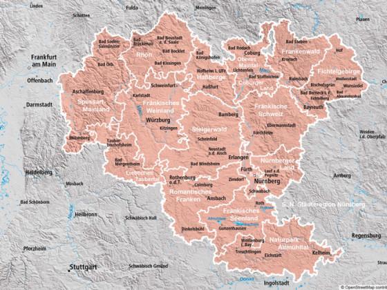Regionskarte von Franken