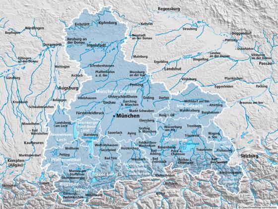 Regionskarte Oberbayern