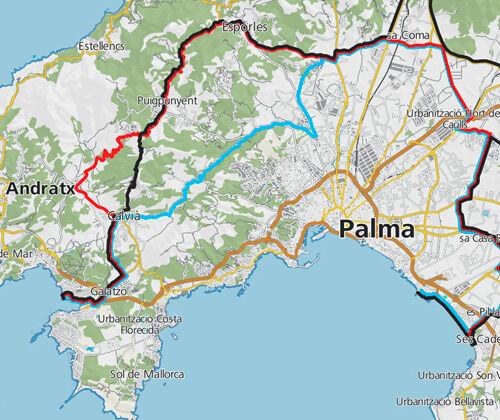 Radtouren-Übersichtskarte Mallorca